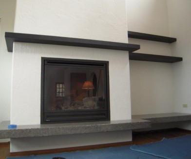 steel mantel and shelves
