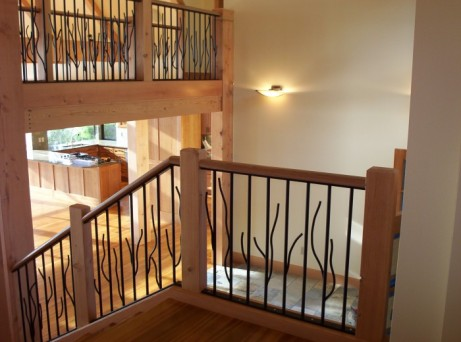 steel and wood frame entry staircase
