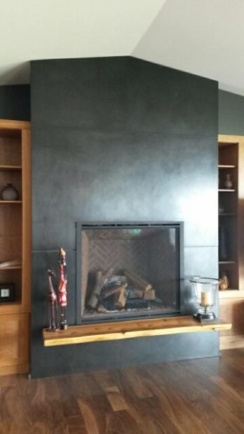 blackened steel fireplace surround