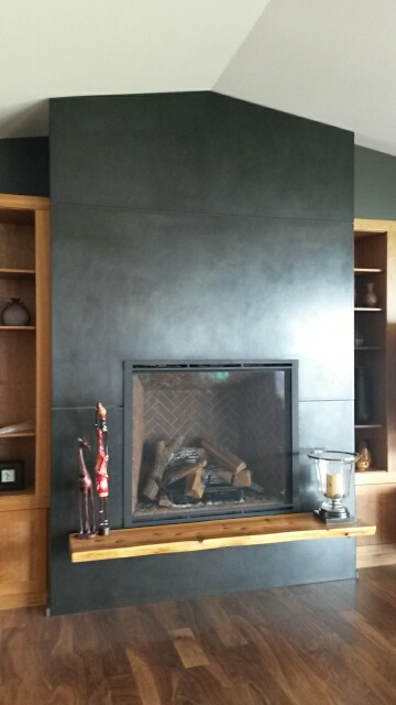 blackened steel fireplace surround
