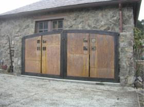 arched steel gates, latch and key