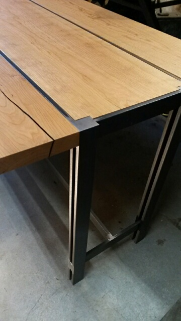 steel and cherry table detail